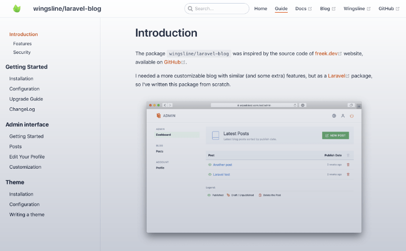 Screenshot of the laravel-blog's documentation page.