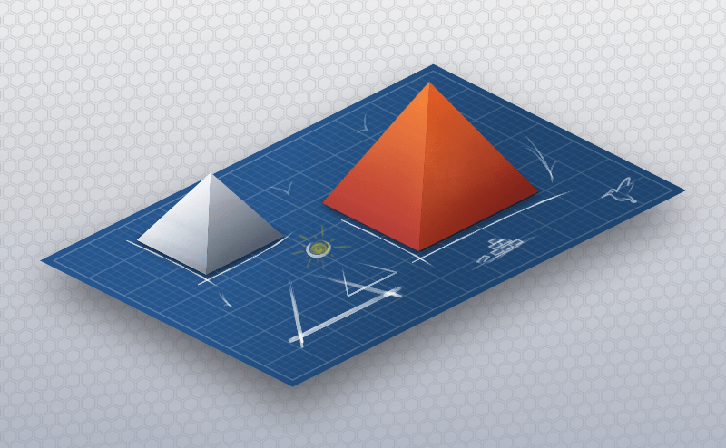 Two 3D rendered pyramids on a design table.